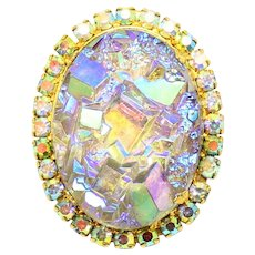 Vintage Juliana Book Piece AB Geode Rhinestone Brooch
