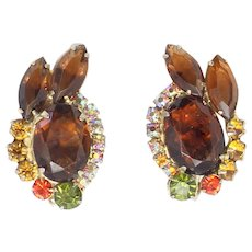 Vintage Juliana Topaz, Olivine and Orange Sun Rhinestone Earrings Book Reference