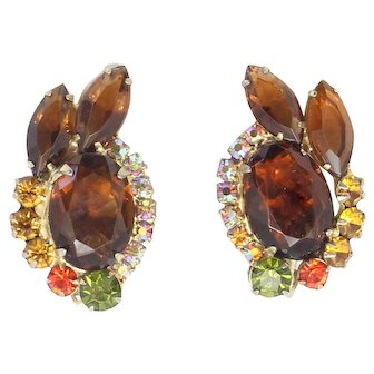 Vintage Juliana Topaz, Olivine and Orange Sun Rhinestone Earrings Book Reference