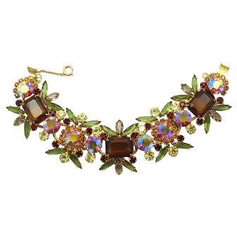 Vintage Juliana Topaz, Olivine Green, Red, Yellow and AB Rhinestone Emerald Cut Bracelet Book Piece
