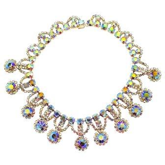 Vintage Juliana AB Rhinestone Collar Necklace