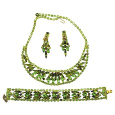 Vintage Juliana Olivine Peridot Green Rhinestone Bib Necklace, Flat Bracelet, Dangle Earrings Book Piece