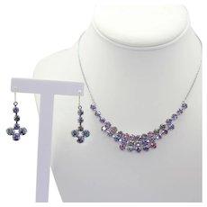 Vintage Iris or Rainbow Glass Rhinestone Necklace Pierced Dangle Earrings Demi Parure