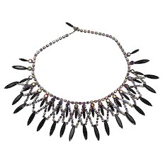 Vintage Juliana Black, Pink AB Rhinestone Collar Necklace