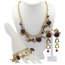 Vintage Juliana Equestrian Horse Fox Hunting Charm Necklace, Bracelet, Dangle Earrings Book Piece
