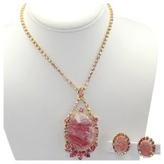 Vintage Juliana Rose Pink Geode AB Rhinestone Necklace Earrings Book Piece