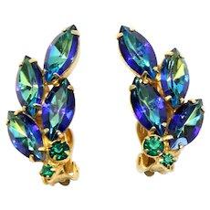 Vintage Juliana Book Piece Peacock Green Rhinestone Earrings