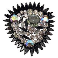 Vintage Juliana Black Navette Framed Riot of Rhinestones Large Brooch