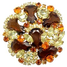 Vintage Juliana for Weiss Topaz Anchor Stone Yellow Orange Rhinestone Brooch Book Reference