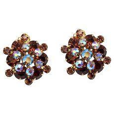Vintage Juliana Topaz and Blue AB Rhinestone Florette Earrings
