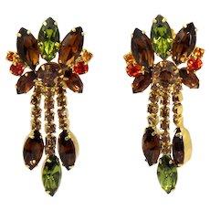 Vintage Juliana Fall Color Rhinestone Dangle Earrings