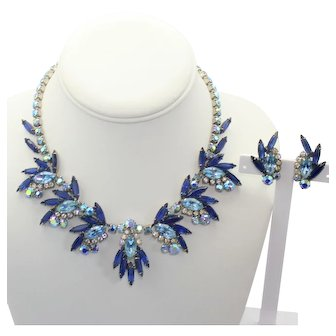 Vintage Juliana Light and Dark Blue  Rhinestone Necklace Earrings Demi Parure