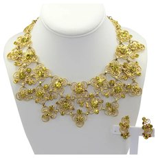 Vintage Juliana Citrine Yellow, Topaz Rhinestone Heart Scroll Bib Necklace Earrings Demi Parure Book Piece