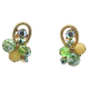 Vintage Juliana Yellow Peridot Green Speckled bead AB Rhinestone Metal Loop Earrings Book Piece