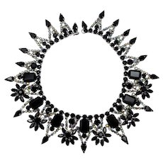 Vintage Juliana Black and AB Rhinestone Flower Collar Necklace