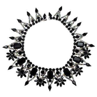 Vintage Juliana Black and AB Rhinestone Flower Collar Necklace