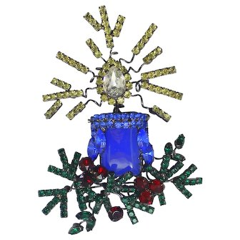 HUGE Lawrence Vrba Blue Red Green Rhinestone Christmas Candle Brooch