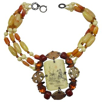 HUGE Lawrence VRBA Asian Hand Painted Tile Topaz Carnelian Rhinestone Amber Butterscotch Glass Bead Necklace