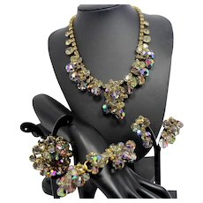 Vintage Juliana Gray Rhinestone Crystal Bead Cha-Cha Necklace Bracelet Brooch Earrings Grand Parure Book Piece