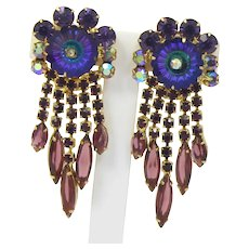 Vintage Juliana Purple Heliotrope Margarita Rhinestone Dangle Earrings