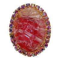 Vintage Juliana Rose Pink Geode AB Rhinestone Brooch Pendant Book Piece