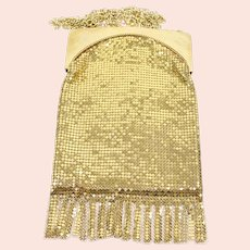 Vintage Whiting and Davis Gold Mesh Satin Fringe Flapper Style Purse Bag