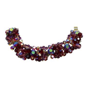 Vintage Juliana Red, Purple Rhinestone AB Crystal Bead Cha-Cha Bracelet
