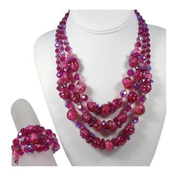 Vintage Hobe Fuchsia Pink Fancy AB Crystal Bead Triple Strand Necklace Memory Wire Wrap Bracelet Demi Parure