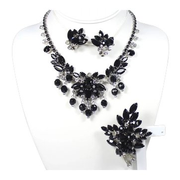 Vintage Juliana Black and Clear Rhinestone Crystal Bead Cha-Cha Necklace, Brooch Earrings Parure Book Piece