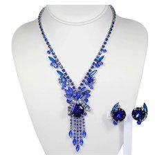 Vintage Juliana Watermelon Bermuda Blue Caged Dentelle Rhinestone Necklace Earrings Demi Parure Book Piece