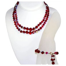 Vintage Laguna Red and AB Crystal Bead Double Strand Necklace Bracelet Demi Parure
