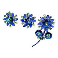Vintage Juliana Bermuda Blue Margarita Teal Rhinestone Flower Brooch & Earrings Demi Parure Book Piece