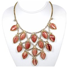Vintage Juliana Peach or Mauve Heat Formed Plastic and Rhinestone Bib Necklace Book Reference