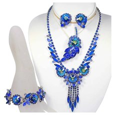Vintage Juliana Bermuda Blue Margarita Rhinestone Necklace Bracelet Brooch Earrings Grand Parure Book Piece