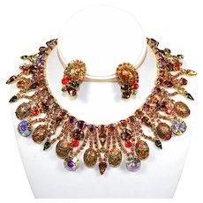 Vintage RARE VENDOME by JULIANA Topaz Orange Easter Egg Collar Necklace Earrings Demi Parure Book Piece