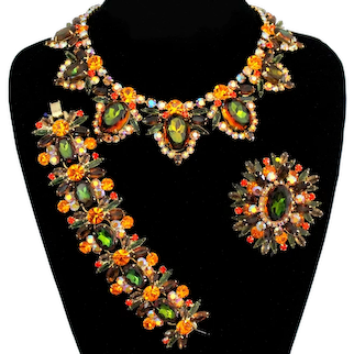 Vintage JULIANA Fall Watermelon Topaz Orange Olivine Green Necklace Bracelet Brooch Parure Book Piece