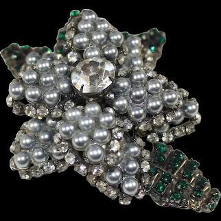 LAWRENCE VRBA Gray Faux Pearl Clear Green Rhinestone Dimensional Flower Brooch