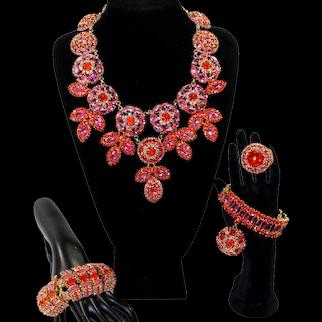 LAWRENCE VRBA Custom Large Orange Pink Rhinestone Necklace Bracelets Ring Parure