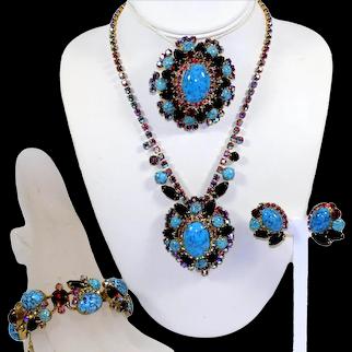 Vintage JULIANA Turquoise Black Red Rhinestone Necklace Earrings Brooch Bracelet Grand Parure Book Piece