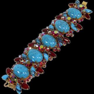 Vintage WIDE JULIANA Turquoise Cabochon Red AB Rhinestone Bracelet Book Piece