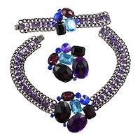 Vintage Juliana for Alexis Kirk Heliotrope Rivoli Black Aqua Purple Blue Rhinestone Chain Necklace Bracelet Brooch Parure Book Piece
