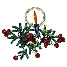 HUGE Lawrence Vrba Blue Red Green Rhinestone Christmas Candle Holly Branch Brooch