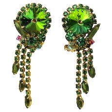 Vintage Juliana Olivine Green Rhinestone Watermelon Rivoli Dangle Earrings Book Reference