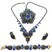 Vintage Juliana (D and E) Book Piece Blue Oval Engraved Painted Flower Cabochon Rhinestone Necklace, Bracelet, Brooch and Earrings Grand Parure