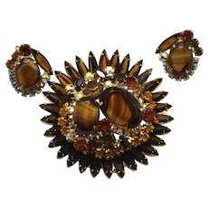 Vintage Juliana (D and E) Book Piece Topaz Striped Givre Rhinestone Brooch and Earrings Demi Parure