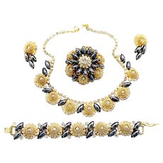 Vintage Juliana (D and E) Book Piece Hematite Rhinestone, Filigree Ball Necklace, Bracelet, Brooch and Earrings Grand Parure