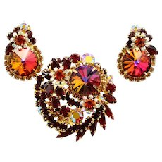 Vintage Juliana (D and E) Book Piece Volcano Rivoli, Red and Topaz Rhinestone Brooch and Earrings Demi Parure