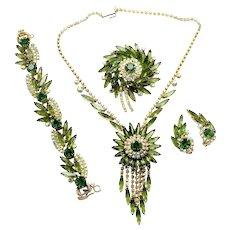 Vintage Juliana Book Piece Olivine Green AB Rhinestone Sunburst Necklace, Bracelet, Brooch and Earrings Grand Parure
