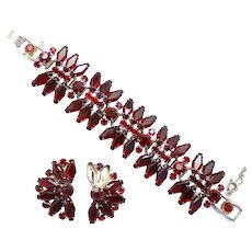 Vintage Juliana (D&E) Book Piece RARE Red Hexagon Rhinestone Bracelet and Earrings Demi Parure