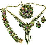 Vintage Juliana Book Piece Green Watermelon Margarita Rhinestone Necklace, Bracelet, Brooch, Earrings Grand Parure
